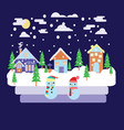 merry christmas greeting card design with winter vector image