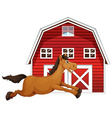 Horse and barn vector image vector image
