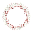 Detailed contour wreath with herbsredberries and vector image