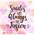 Conceptual handwritten phrase Smiles are Always in vector image