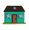 drawing green home classic style loft vector image