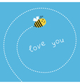 Flying bee Dash spiral in the sky Card vector image