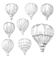 Hot air balloons in flight retro sketches vector image