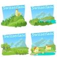 Switzerland travel concepts set cartoon style vector image