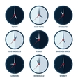 World clocks for time zones of different cities vector image