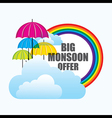 big monsoon offer banner design with umbrella vector image