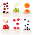 Colorful fresh fruits falling into the milky vector image