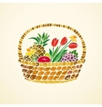 Basket with fruits and flowers vector image