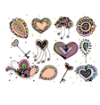 bright colorful image of icons with hearts vector image
