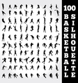 100 basketball silhouette vector image vector image