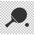 Ping pong paddle with ball Dark gray icon on vector image