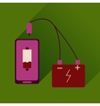 Flat web icon with long shadow mobile charging vector image