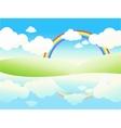 Beautiful summer waterside landscape vector image