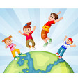 children and the world vector image