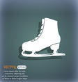 Ice skate icon On the blue-green abstract vector image