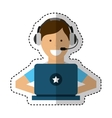 person working in laptop call center vector image