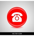 phone icon white silhouette on a red vector image