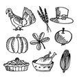 Set of thanksgiving black sketches objects vector image