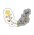 sticker decorative half arch with flowerbud vector image