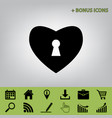 heart with lock sign  black icon at gray vector image