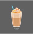 glass of chilled frappe coffee drink flat vector image