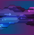 tech blue purple abstract arrows background vector image