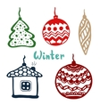 Christmas tree toys isolated color art vector image