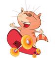 Cute Cat Skateboarder Cartoon vector image vector image