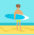 surfer walking on the beach with surfboard vector image