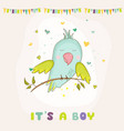 baby shower card parrot boy sitting on brunch vector image