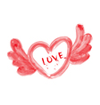 Watercolor red heart with love vector image