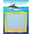 Frame design with dolphin swimming vector image