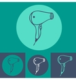 Hair dryer icon set on blue background vector image