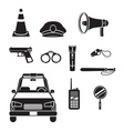 Police Icons Set Monochrome vector image