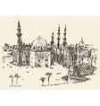 Cairo vintage engraved hand drawn sketch vector image