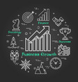 chalk board - business growth - arrow up vector image