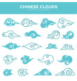 chinese curly clouds in tender blue colors vector image