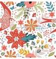 Colorful seamless pattern with birds and blooming vector image