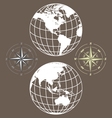 globe and compass vector image