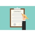 signing sign contract paper document vector image