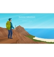 Web banner with traveller vector image