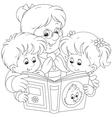 Grandma and grandchildren reading vector image vector image