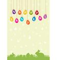 Easter hanging egg background vector image