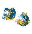 Cartoon ship anchors on sea water waves vector image