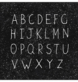 hand drawn alphabet on black texture vector image vector image