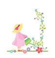girl watering flowers in the garden vector vector image vector image
