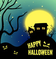 Halloween night with haunted house vector image vector image