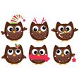 Cute cartoon christmas Owls set isolated on white vector image