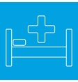 Hospital bed and cross thin line icon vector image