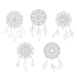 Set of zentangle style dreamcatchers Tribal vector image